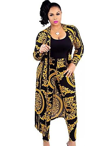 billige Todelt dress til damer-Dame Grunnleggende Sett Bukse - Trykt mønster, Geometrisk