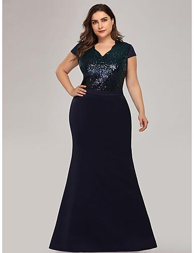 levne Šaty pro slavnostní příležitosti-A-Linie Do V Na zem Šifón Formální večer Šaty s Flitry podle LAN TING Express