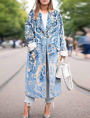 Women's Work Street chic / Sophisticated Winter / Fall & Winter Long Coat, Plaid Notch Lapel Long Sleeve Cotton / Acrylic Blue / Red
