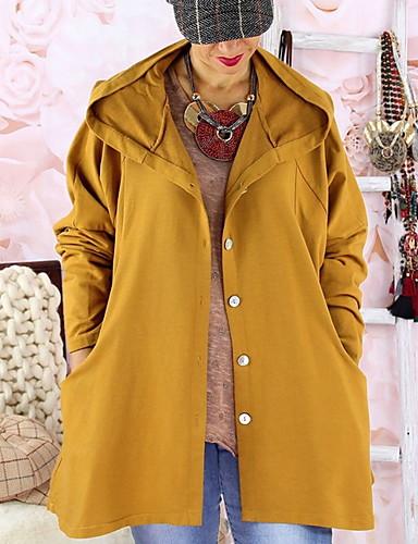 levne Dámské kabáty a trenčkoty-Dámské Denní Standardní Trenčkot, Jednobarevné Kapuce Dlouhý rukáv Polyester Černá / Žlutá / Vodní modrá