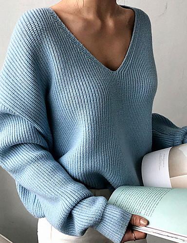 billige Dametopper-Dame Ensfarget Langermet Pullover Genserjumper, V-hals Svart / Hvit / Blå En Størrelse