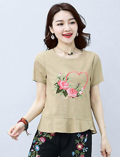 billige Dametopper-T-skjorte Dame - Blomstret / Tribal, Broderi Gatemote / Chinoiserie Hvit