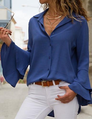 billige Skjorter til damer-Skjortekrage Skjorte Dame - Ensfarget Svart