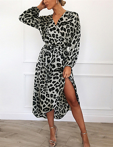 levne Pracovní šaty-Dámské Šik ven Volné Pouzdro Šaty - Leopard, Tisk Midi Do V Fantastická zvířata