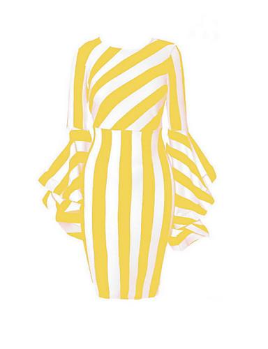 voordelige Grote maten jurken-Dames Bodycon Jurk - Gestreept Tot de knie