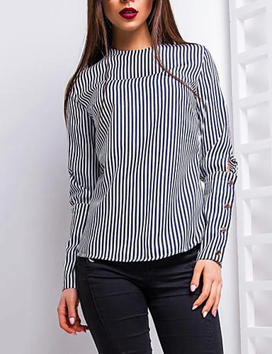 billige Dametopper-Bluse Dame - Stripet Grunnleggende / Gatemote Svart