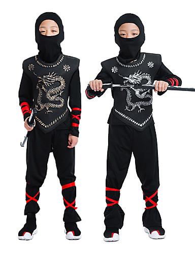 povoljno Maske i kostimi-Ninja Rekviziti za Noć vještica Dječji Dječaci Halloween Halloween Festival / Praznik Pletenje Crn Karneval kostime / Kostim