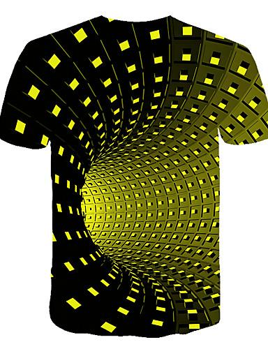 levne Pánská tílka-Pánské - Geometrický / Barevné bloky / 3D Základní / Šik ven Tričko, Tisk Černá