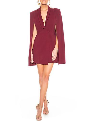 voordelige Wrap Dresses-Strak / kolom Stomp Hals Kort / Mini Polyester Bruidsmoederjurken met Ruches door LAN TING Express / Wrap inbegrepen