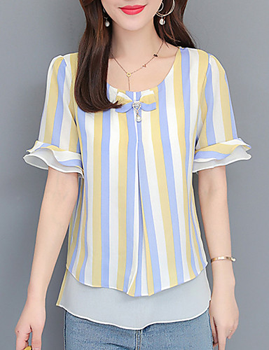billige Dametopper-T-skjorte Dame - Stripet / Blomstret, Sløyfe / Drapering / Trykt mønster Forretning / Gatemote Blå