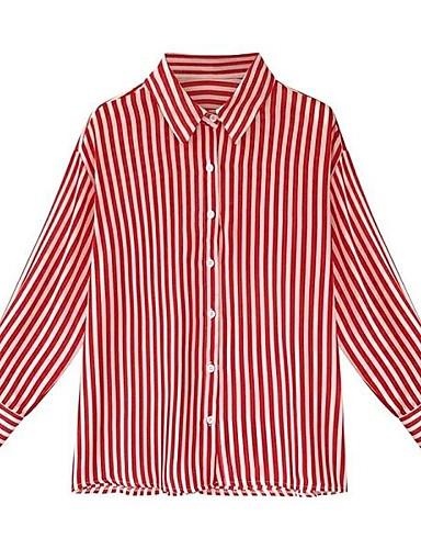 billige Dametopper-Skjorte Dame - Stripet, Lapper Grunnleggende Svart & Rød Svart