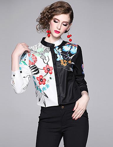 billige Dametopper-Skjorte Dame - Blomstret, Lapper / Trykt mønster Vintage / Elegant Hvit
