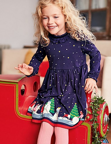 Kids Girls' Polka Dot Christmas Dress Navy Blue