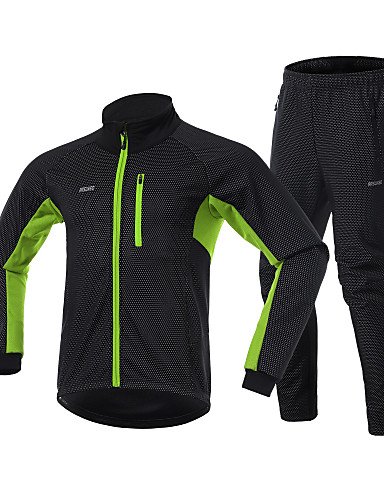 povoljno Odjeća za vožnju biciklom-Arsuxeo Muškarci Biciklistička jakna s hlačama Bicikl Vjetronepropusne jakne Sportska odijela Sportski Spandex Crna / crvena / Crna / Green / Crna / plava Odjeća Obična Odjeća za vožnju biciklom