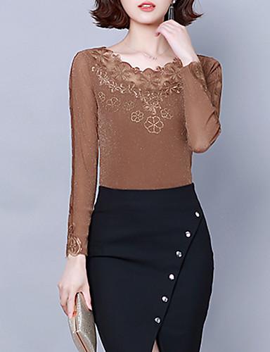 billige Dametopper-Skjorte Dame - Blomstret, Blonde / Utskjæring / Lapper Vintage / Elegant Svart