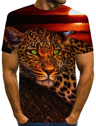 levne Pánská tílka-Pánské - Leopard / 3D / Zvíře Vintage / Rokové Tričko, Tisk Vlk Duhová