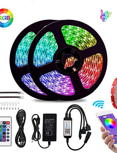 preiswerte LED-Lichter-KWB 2x5M Flexible LED-Leuchtstreifen / Lichtsets / Smart Lights 600 LEDs SMD5050 10mm 1Set Montagehalterung RGB Wasserfest / APP-Steuerung / Schneidbar 100-240 V 1 set