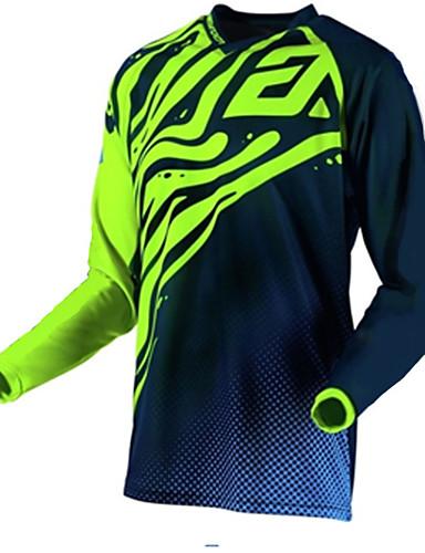 povoljno Biciklističke majice-Muškarci Dugih rukava Biciklistička majica Downhill Jersey Dirt Bike Jersey Crna / Green Geometic Bicikl Biciklistička majica Odjeća za motocikle Majice Brdski biciklizam biciklom na cesti Ugrijati