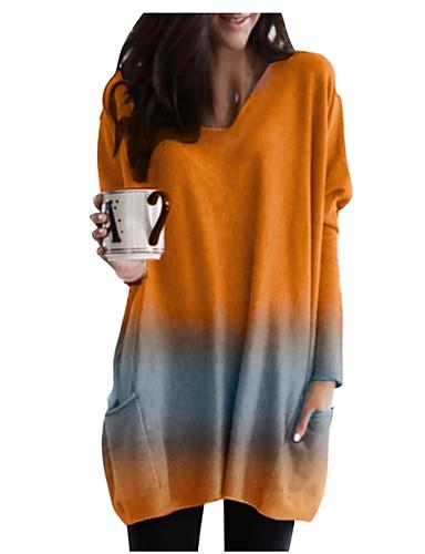 billige T-skjorter til damer-tunika Dame - Fargeblokk Oransje