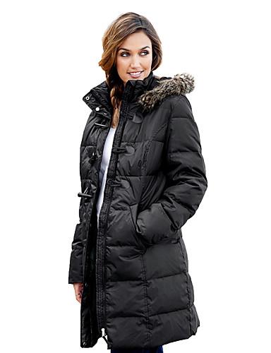 preiswerte Damen Trenchcoats-Damen Alltag Grundlegend Winter Lang Trench Coat, Solide Rollkragen Langarm Polyester Patchwork Schwarz / Rote / Grau