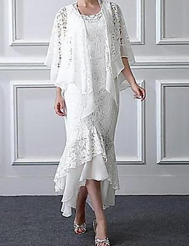 levne Šaty pro svatební hosty-Mořská panna Scoop Neck Asymetrické Krajka Bez rukávů Elegantní / Větší velikosti Šaty pro matku nevěsty s Sklady Mother's Day 2020