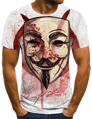 voordelige Uitverkoop-Heren Street chic Geplooid / Print T-shirt Kleurenblok / 3D / Portret Wijn