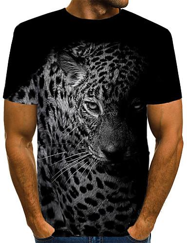 levne Pánská tílka-Pánské - Leopard / 3D / Zvíře Vintage / Rokové Tričko, Tisk Černá a šedá Černá