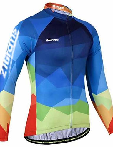 povoljno Odjeća za vožnju biciklom-21Grams Muškarci Dugih rukava Biciklistička majica Blue + Žuta Karirano / kockasto Bicikl Biciklistička majica Majice Brdski biciklizam biciklom na cesti Ugrijati UV otporan Prozračnost Sportski Zima