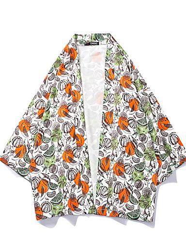 levne Pánská saka a kabáty-Pánské Denní Standardní kimono Jacket, Ovoce Do V Dlouhý rukáv Polyester Oranžová