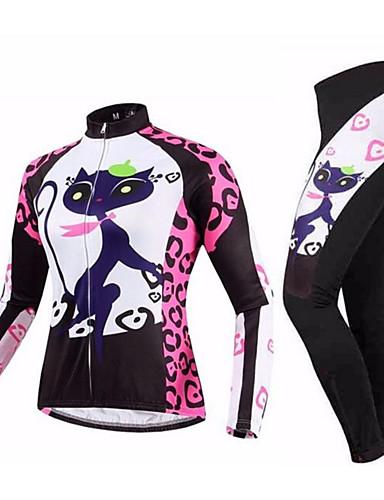 povoljno Odjeća za vožnju biciklom-21Grams Žene Dugih rukava Biciklistička majica s tajicama Pink / Black Mačka Bicikl Sportska odijela Ugrijati Prozračnost Quick dry Anatomski dizajn Ultraviolet Resistant Zima Sportski Mačka Brdski