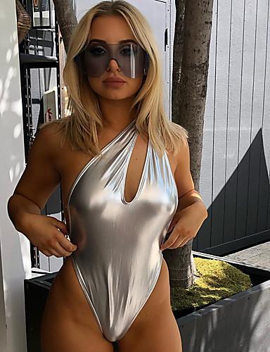 billige Dametopper-Dame Gatemote Sølv Sparkedrakter, Ensfarget Åpen rygg S M L