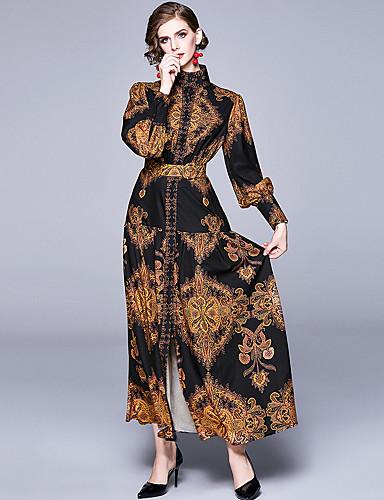 voordelige Maxi-jurken-Dames Elegant A-lijn Jurk - Ruitjes, Print Maxi