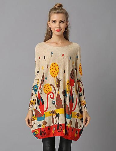 billige Dametopper-Dame Geometrisk / Fargeblokk / Abstrakt Langermet Løstsittende Pullover Genserjumper, Løse skuldre Hvit / Grå / Kakifarget En Størrelse
