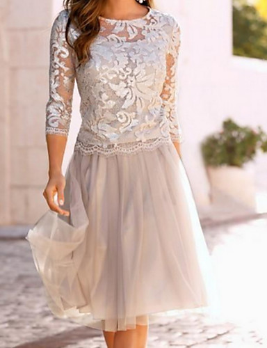 cheap Mother of the Bride Dresses-A-Line Mother of the Bride Dress Elegant See Through Jewel Neck Knee Length Chiffon Lace 3/4 Length Sleeve with Lace Ruching 2020 Mother of the groom dresses