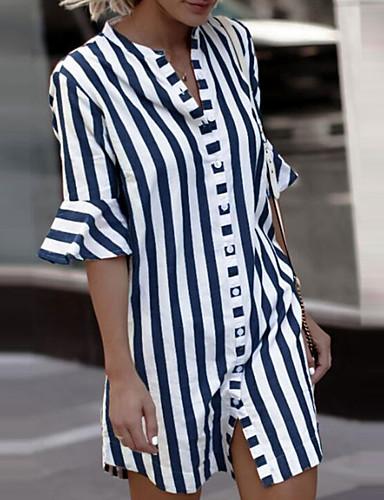 billige Skjorter til damer-Skjorte Dame - Stripet, Drapering / Trykt mønster Grunnleggende Blå