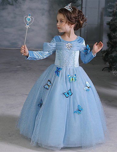 cheap Movie & TV Theme Costumes-Princess Cinderella Elsa Cosplay Costume Flower Girl Dress Kid's Girls' A-Line Slip Dresses Christmas Halloween Carnival Festival / Holiday Tulle Cotton Blue Carnival Costumes Butterfly Princess
