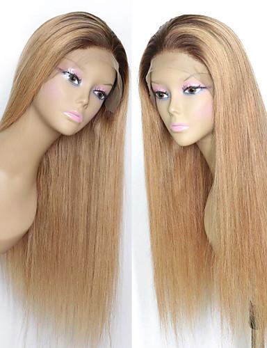 ราคาถูก Blonde Lace Wigs-ผม Remy 4x13 ปิด มีลูกไม้ด้านหน้า วิก ตอนกลาง ส่วนด้านข้าง ฟรี Part สไตล์ ผมบราซิล Straight วิก 150% Hair Density ผู้หญิง คุณภาพที่ดีที่สุด ใหม่ มาใหม่ ลดกระหน่ำ สำหรับผู้หญิง ความยาวระดับกลาง
