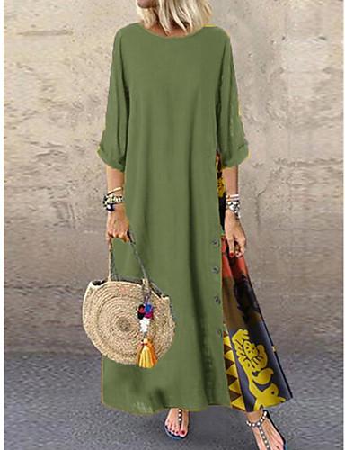 voordelige Maxi-jurken-Dames Boho Wijd uitlopend Jurk - Kleurenblok Maxi