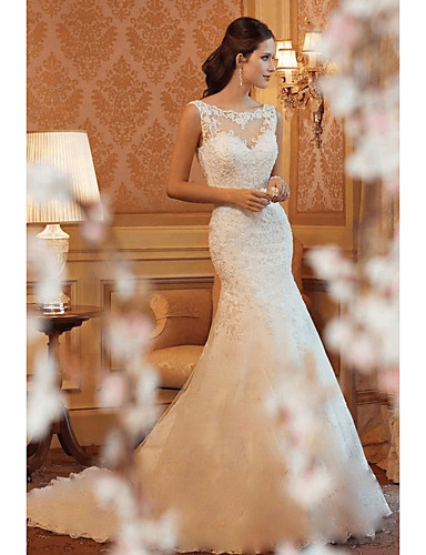 cheap Wedding Dresses Under $200-Mermaid / Trumpet Boat Neck Court Train Lace Made-To-Measure Wedding Dresses with by LAN TING Express
