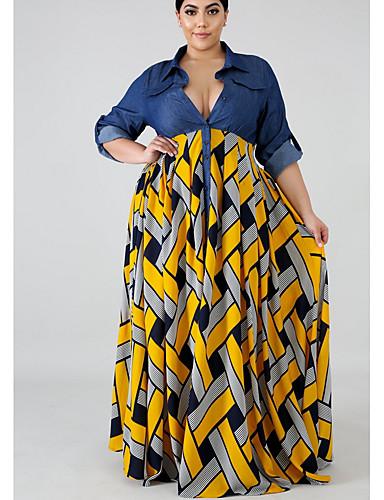 levne Šaty velkých velikostí-Dámské Swing Šaty - Geometrický Maxi