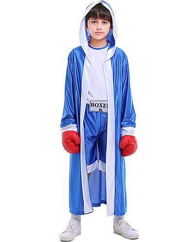 preiswerte Spielzeug & Hobby Artikel-Boxer Haloween Figuren Kinder Jungen Halloween Halloween Fest / Feiertage Gestrickt Blau / Rote Karneval Kostüme / Gymnastikanzug / Einteiler / Umhang