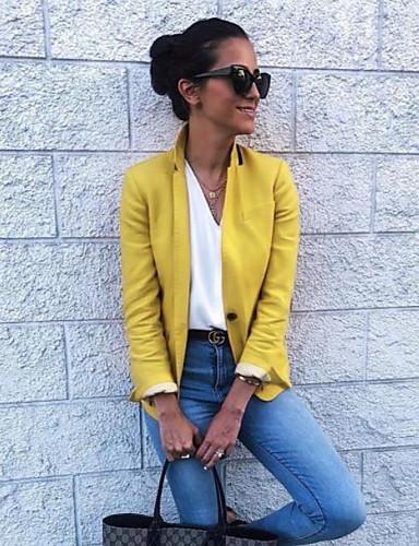 levne Dámské blejzry a bundy-Dámské Denní Podzim zima Standardní Bunda, Jednobarevné Polostojatý límec Dlouhý rukáv Polyester Žlutá