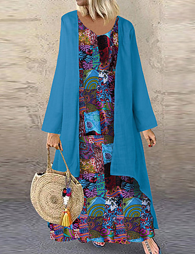 levne Maxi šaty-Dámské Cikánský Shift Šaty - Geometrický, Patchwork Maxi