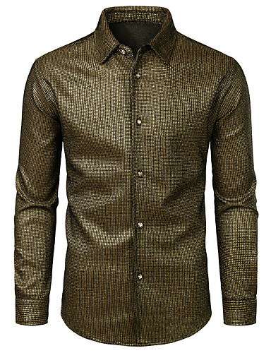 voordelige Herenoverhemden-Heren Overhemd Polka dot Goud