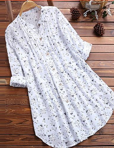 billige Dametopper-Skjorte Dame - Blomstret, Lapper / Trykt mønster Grunnleggende Hvit