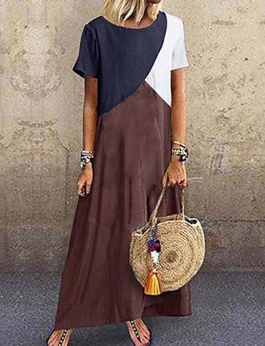 abordables Jusqu'à -90 %-Femme Robe Tee Shirt Maxi Manches Courtes Printemps été - Simple Patchwork Bloc de Couleur 2020 Violet Vert Marron Gris S M L XL XXL XXXL XXXXL XXXXXL