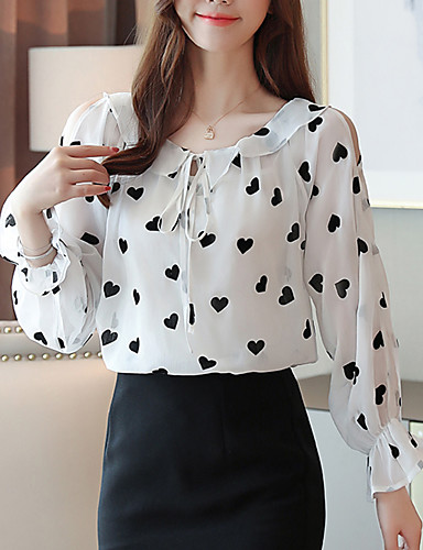 billige Dametopper-Skjorte Dame - Grafisk Hvit