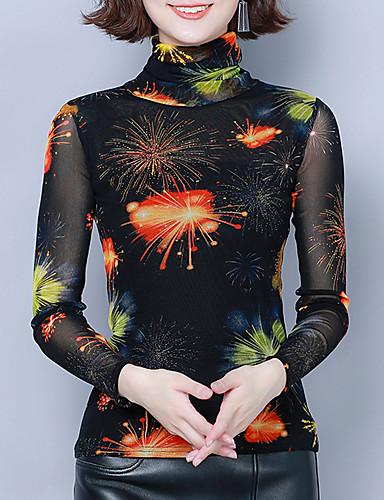 billige Skjorter til damer-Skjorte Dame - Blomstret / Grafisk, Trykt mønster Vintage / Elegant Oransje