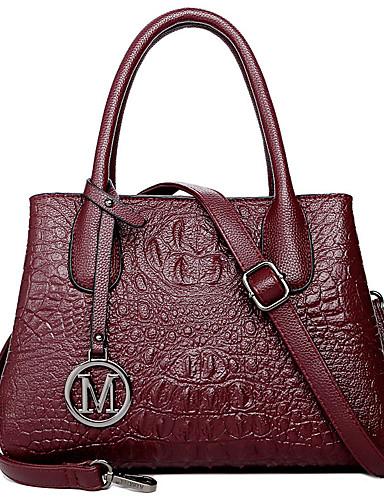 preiswerte Elegante Damen-Handtaschen-Damen Reißverschluss Rindsleder Tasche mit oberem Griff Krokodilmuster Schwarz / Wein / Violett