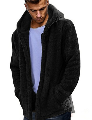 levne Pánská saka a kabáty-Pánské Denní Podzim zima Standardní Faux Fur Coat, Jednobarevné Kapuce Dlouhý rukáv Umělá kožešina Černá / Armádní zelená / Vodní modrá